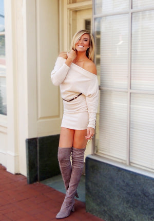 Tucson Off the Shoulder Sweater Dress - Tan - Daily Chic