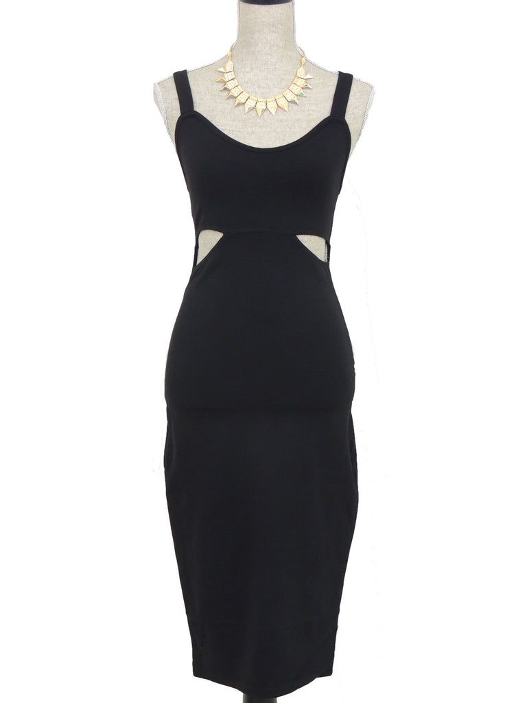 Show the Way Cutout Midi Dress - Black