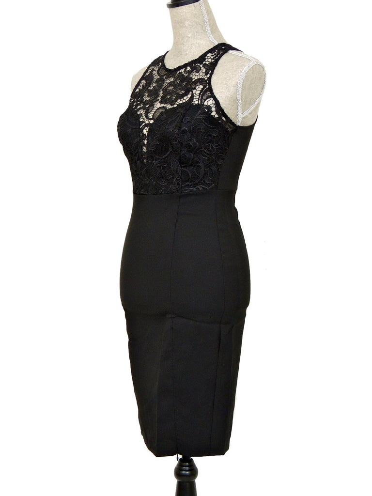Lace Your Bets Midi Dress - Black
