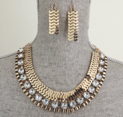 EGYPTIAN QUEEN NECKLACE + EARRING SET-GOLD - Daily Chic