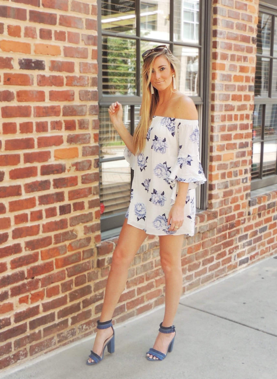Maddie Floral Print Off the Shoulder Dress - White + Blue - Daily Chic