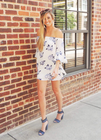 Olivia Cold Shoulder Romper - Misty Blue