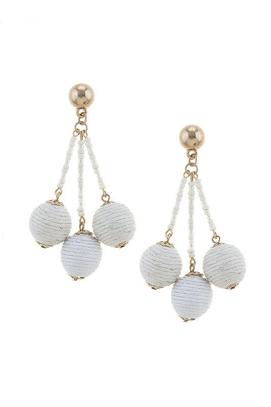 Venice Beach Ball Cluster Earrings- Ivory
