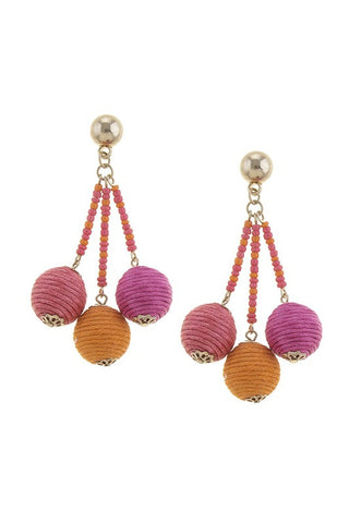 Venice Beach Ball Cluster Earrings- Pink - Daily Chic