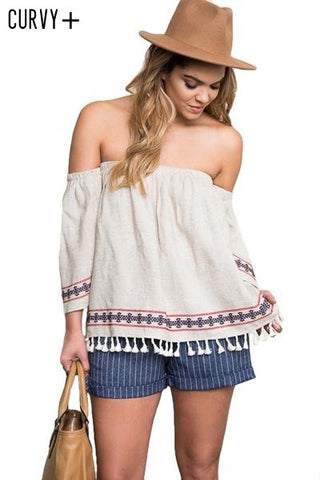 Napa Off the Shoulder Embroidered Blouse - Oatmeal - Daily Chic