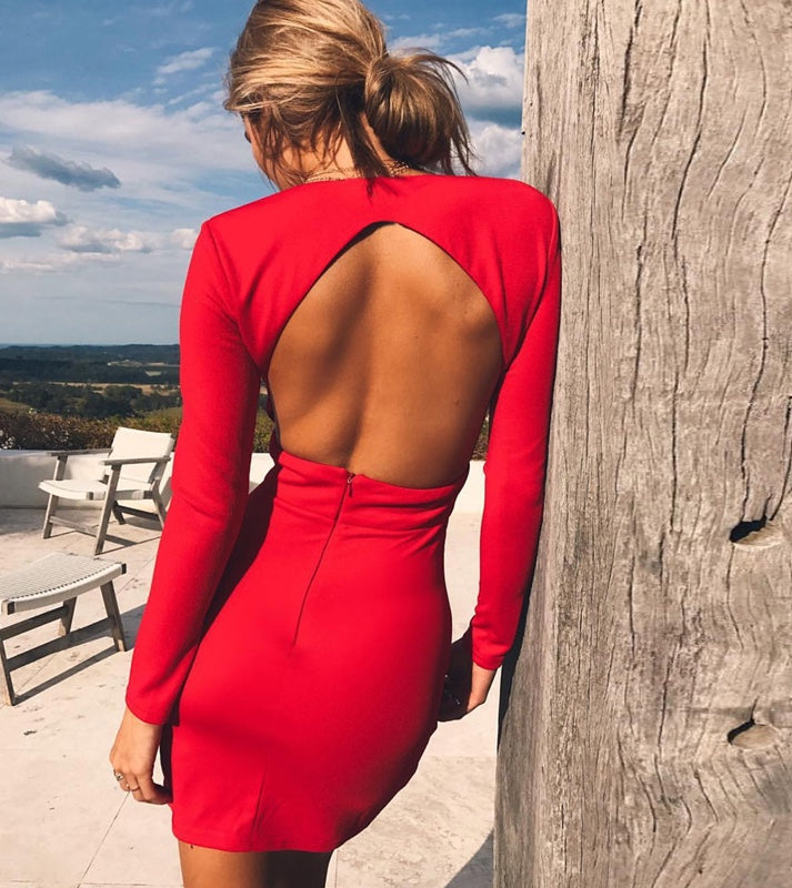 Nadia Long Sleeve Deep V Plunge Dress - Red