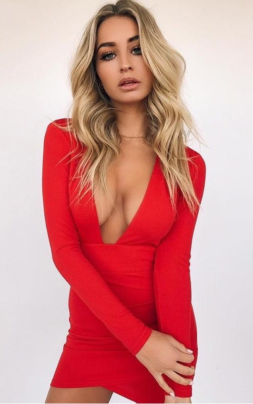 9a0c97b13479 Nadia Long Sleeve Deep V Plunge Dress - Red – Daily Chic
