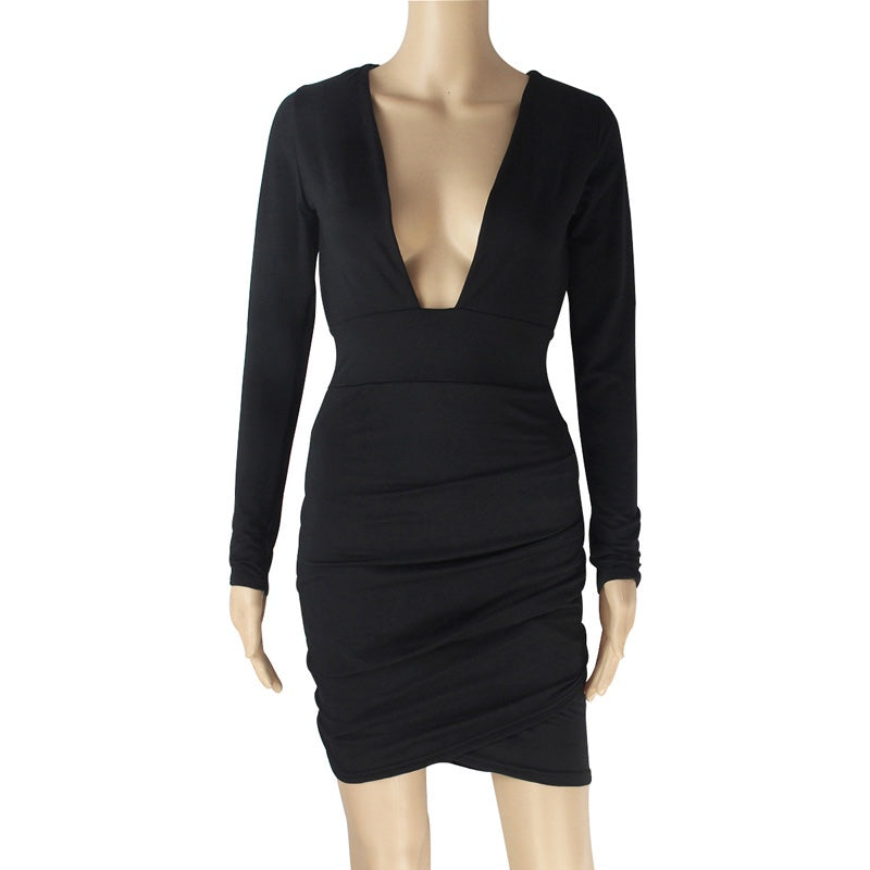 Nadia Long Sleeve Deep V Plunge Dress - Black