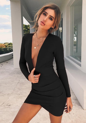Nadia Long Sleeve Deep V Plunge Dress - Black - Daily Chic