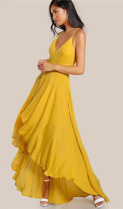Yelena High Low Maxi Dress - Yellow - Daily Chic