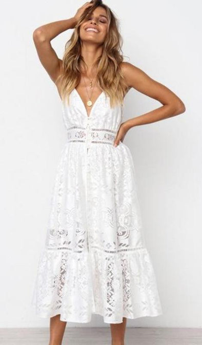 Sophie Lace Dress - White - Daily Chic