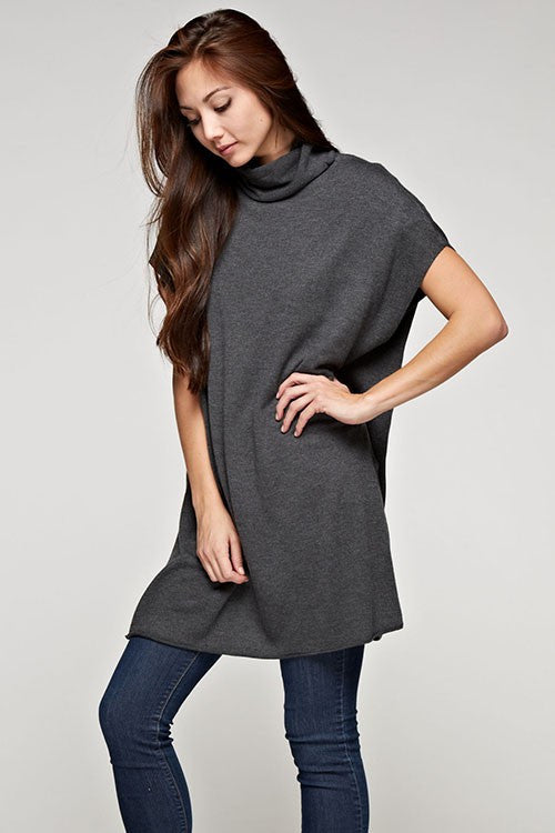 Sabine Cashmere Blend Tunic Sweater - Dark Grey