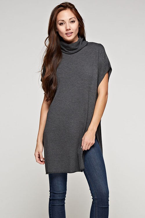 Sabine Cashmere Blend Tunic Sweater - Dark Grey - Daily Chic