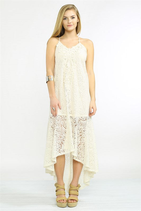 By My Oceanside High Low Lace Dress - Cream