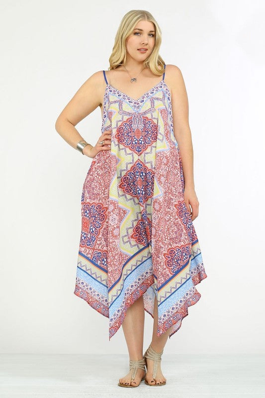 Island In The Sun Asymmetrical Print Dress - Multi