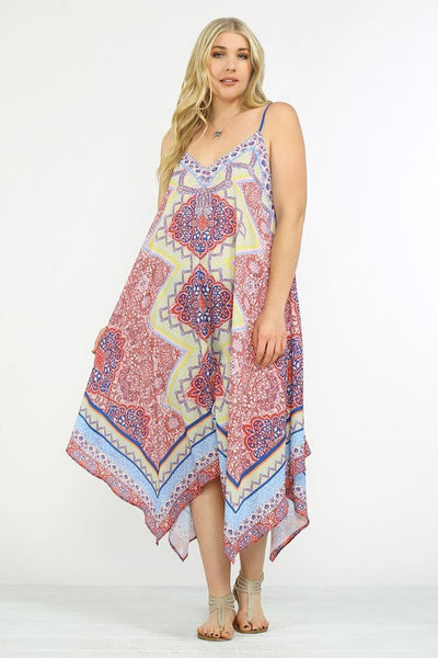 Island In The Sun Asymmetrical Print Dress - Multi - Daily Chic