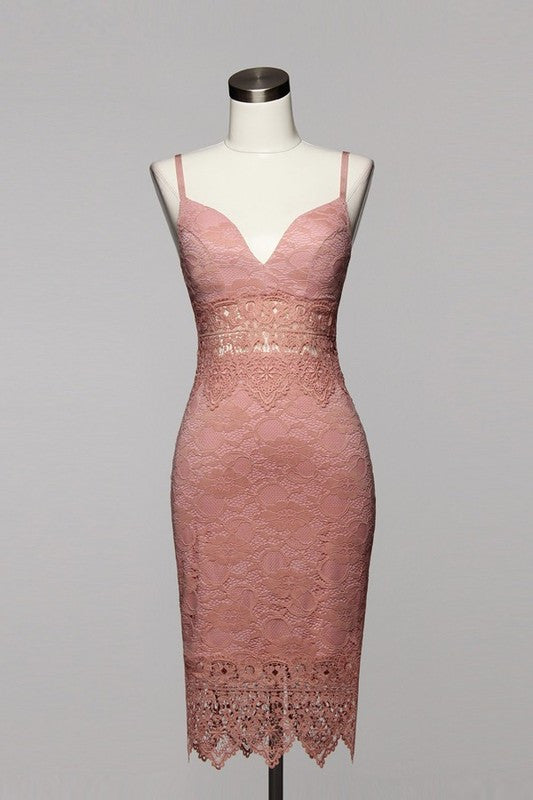 Sabrina Lace Midi Dress - Mauve - Daily Chic