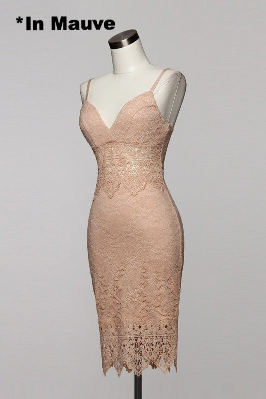 Sabrina Lace Midi Dress - Mauve