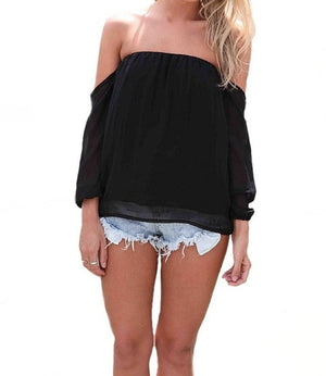 Wisteria Lane Off the Shoulder Blouse - Black RESTOCKED! - Daily Chic
