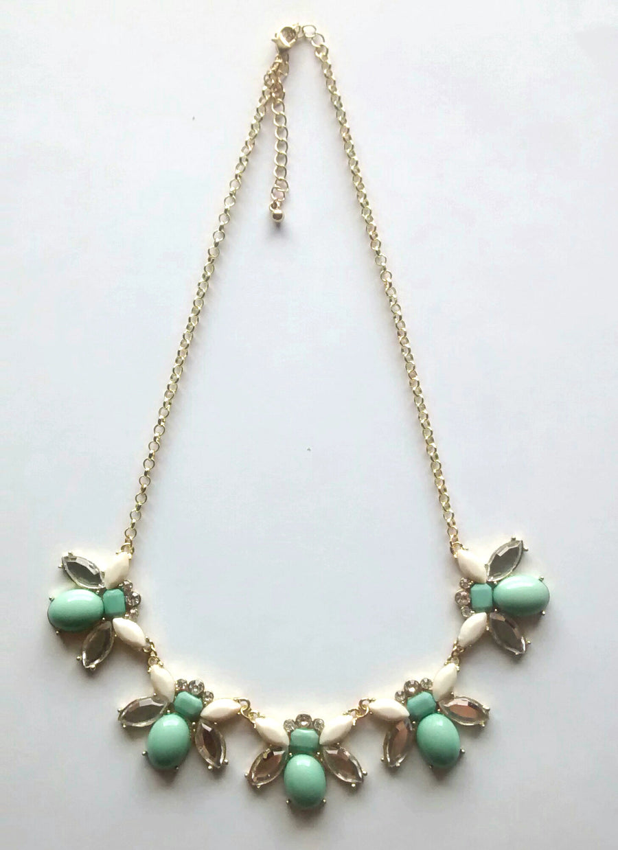 Santa Barbara Necklace- Sea Foam + Cream + Crystal - Daily Chic
