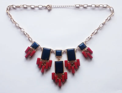 The Great Gatsby Necklace- Burgundy + Midnight Blue + Gold - Daily Chic