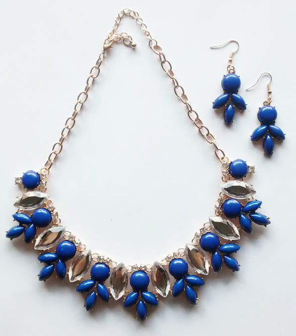 Ventura Beach Necklace and Earring Set- Royal Blue + Crystal - Daily Chic