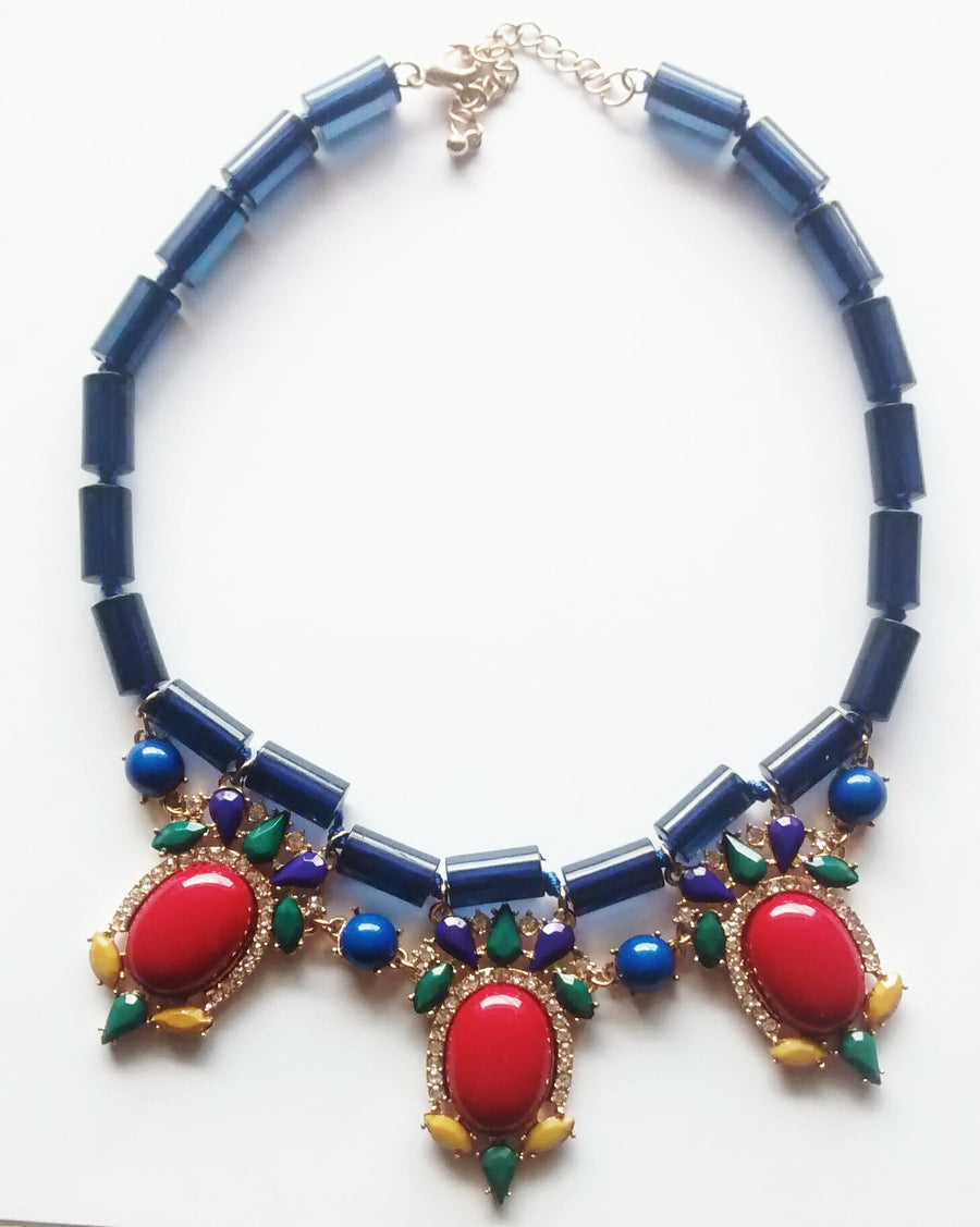 Half Moon Bay Necklace- Blue + Multi - Daily Chic