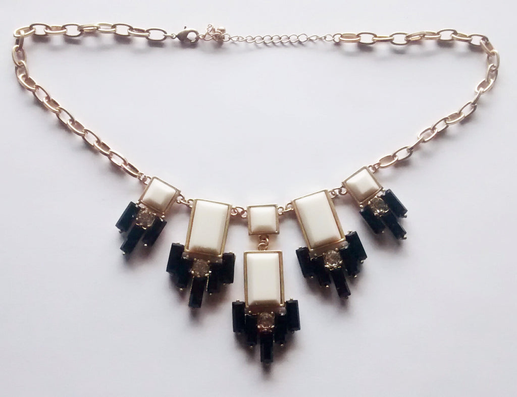 The Great Gatsby Necklace- Cream + Crystal + Black