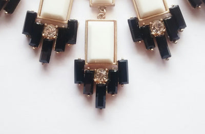 The Great Gatsby Necklace- Cream + Crystal + Black - Daily Chic