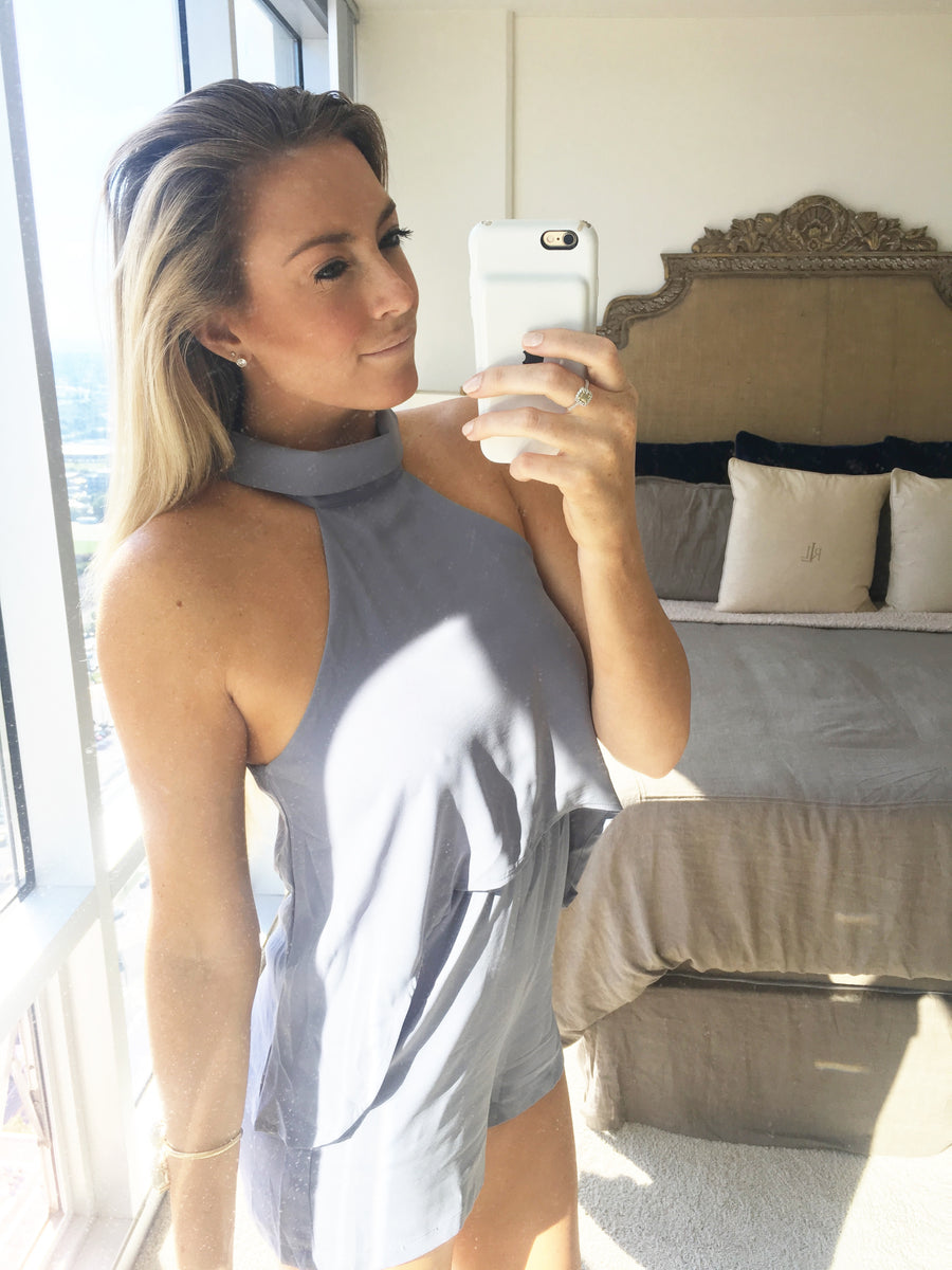 Malin High Neck Romper - Grey - Daily Chic