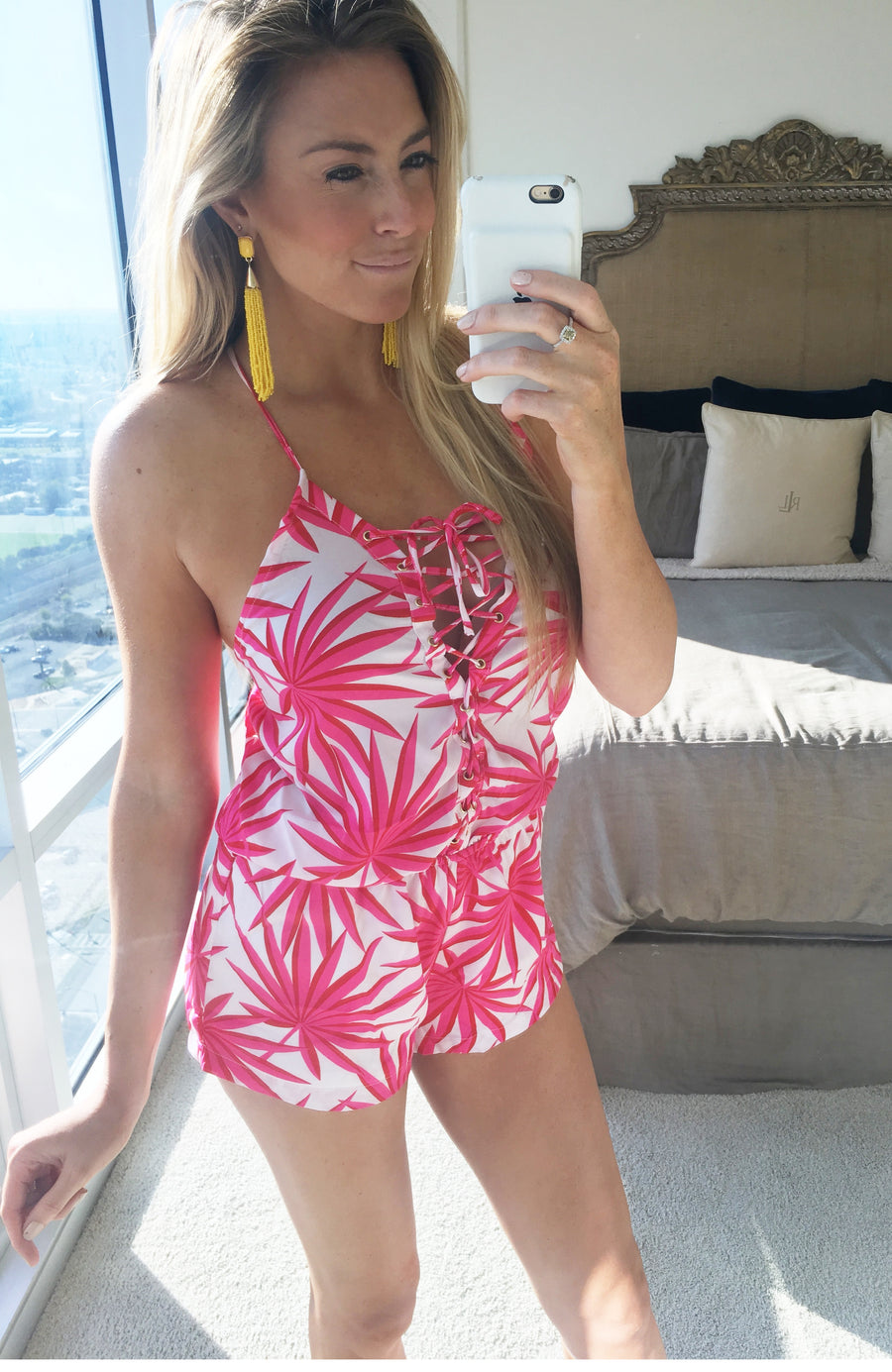 Palm Springs Lace Up Print Romper - Pink + White - Daily Chic