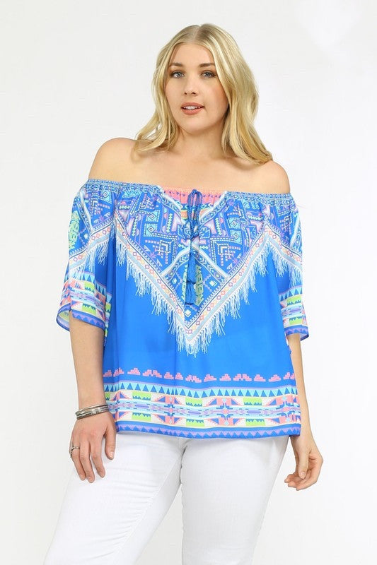 Copacabana Off the Shoulder Print Blouse - Multi