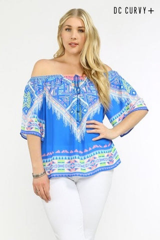 Copacabana Off the Shoulder Print Blouse - Multi - Daily Chic