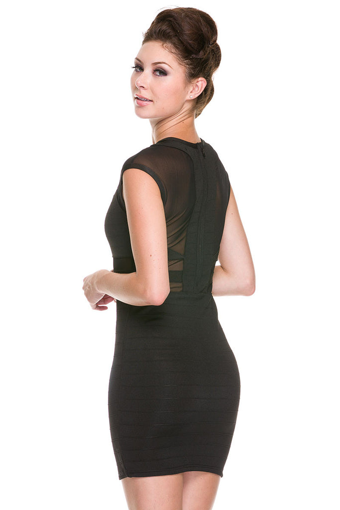 Top of Your Game Mesh Bandage Dress - Black