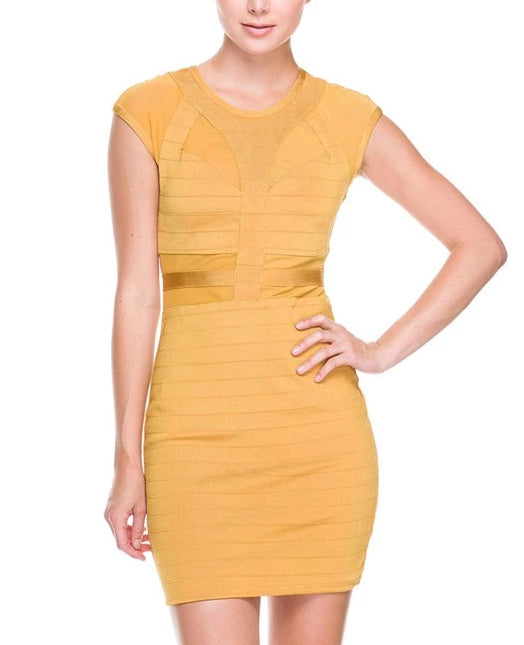Top of Your Game Mesh Bandage Dress - Gold