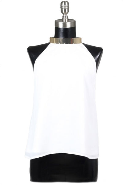 Cairo Gold Neck Cuff Strappy Back Top - White RESTOCKED! - Daily Chic