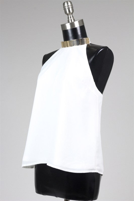 Cairo Gold Neck Cuff Strappy Back Top - White RESTOCKED!