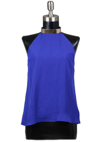 Cairo Gold Neck Cuff Strappy Back Top - Royal Blue - Daily Chic