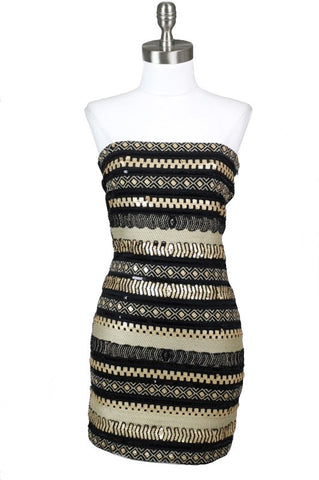 Midnight Star Embellished Strapless Dress - Black + Gold - Daily Chic
