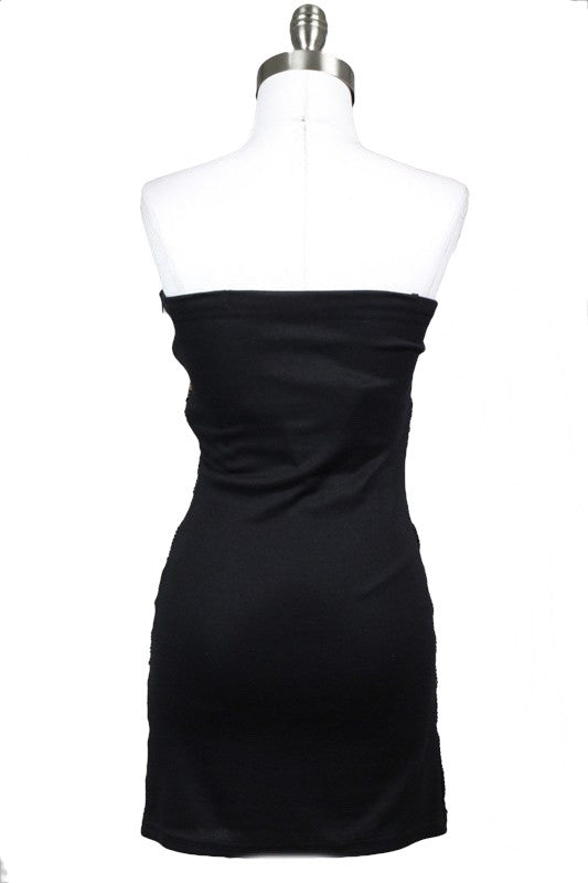 Midnight Star Embellished Strapless Dress - Black + Gold