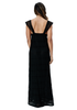Sun Spirit Crochet Lace Plunge Neck Maxi Dress - Black