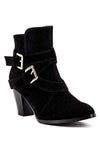 Frontier Buckled Ankle Booties - Black - Daily Chic
