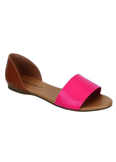 Brigit Open Toe Flats - Hot Pink - Daily Chic
