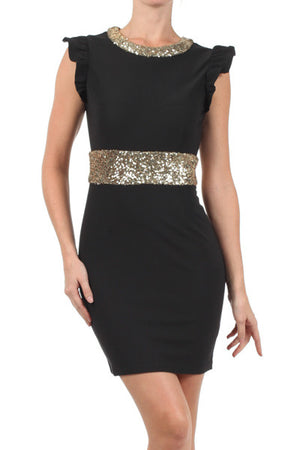 Marvelous Tonight Flutter Sleeve Sequin Dress - Black + Gold - Daily Chic