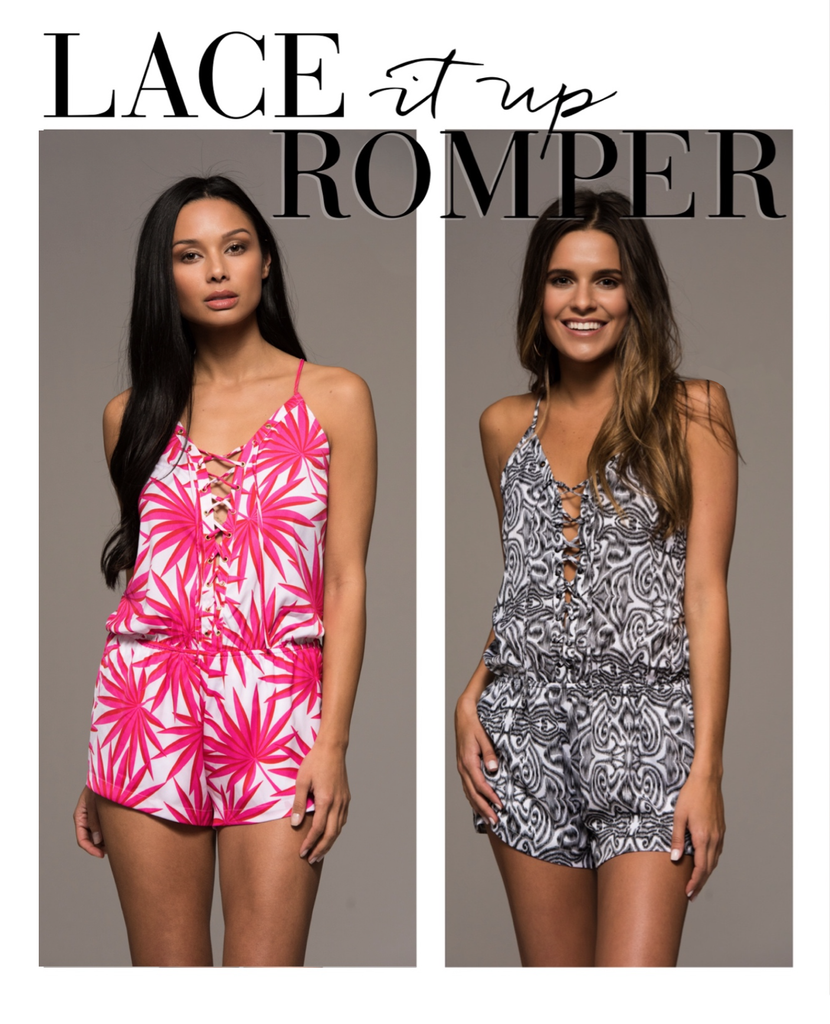 Palm Springs Lace Up Print Romper - Pink + White