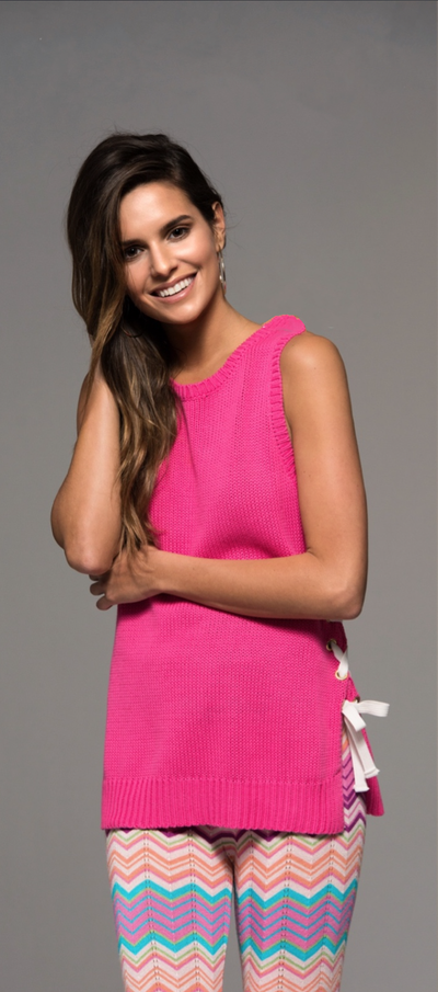 Tessa Tie Up Knit Top - Pink RESTOCKED! - Daily Chic