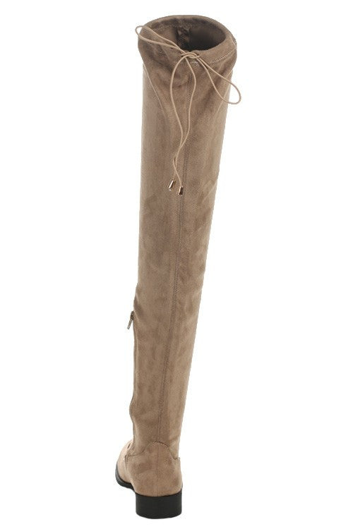 Vinci Over the Knee Suede Boots - Taupe