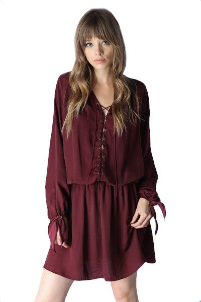 Luce Lace Up Long Sleeve Dress - Beet Red