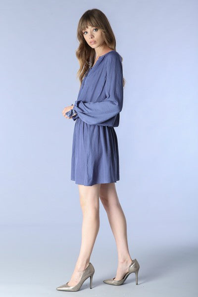 Luce Lace Up Long Sleeve Dress - Indigo