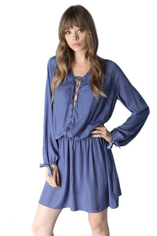 Luce Lace Up Long Sleeve Dress - Indigo - Daily Chic